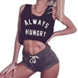 2019 Women's Summer Sleeveless Tank Crop Tops Teen Girls Casual Letter Printed Graphic Gym Tee T-Shirts (Black, M)