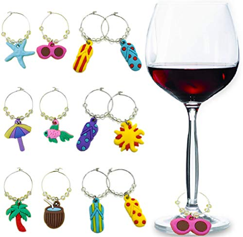 - Christmas Wine Glass Charms Tags, Wine Drinker Gift set of 12 in gift box, Champagne Cocktail Drink Markers (red)
