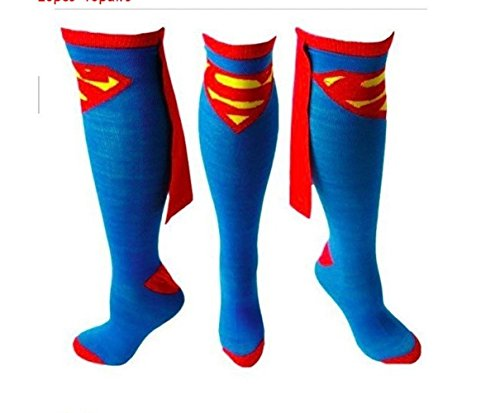 Superman Logo Superhero Cape Knee High Socks Blue Adult shoe size 9-12