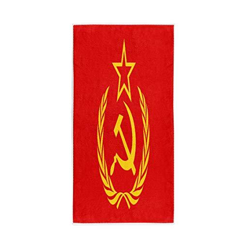 Pinbeam Bath Towel Red CCCP Symbol Hammer Sickle Star and Wreath Towel Beach Towel