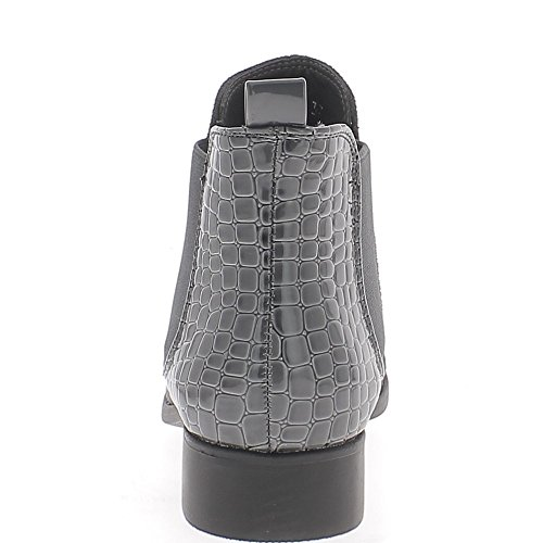 ChaussMoi Low Heel 3cm Suede and Croco Look Grey Boots kpkCA6i1Z