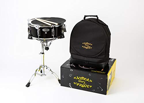 Glory Snare Drum Set With Case, Snare Drum Stand, Sticks, Practice Pad and Strap, for Beginners and Students,-Black Color,Click to Choose More Colors by Glory
