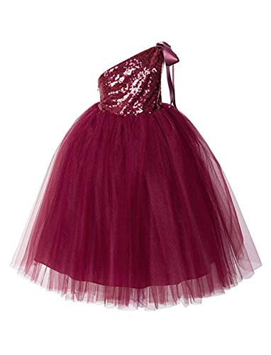 (TTYbridal Tulle Flower Girl Dress Sequins Girls Birthday Party Dresses Tutu HT2 Burgundy)