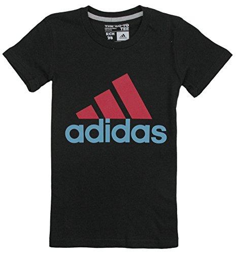 Adidas Big Girls Adi Logo Short Sleeve Tee (Medium (10/12), Black/Vivid Berry)