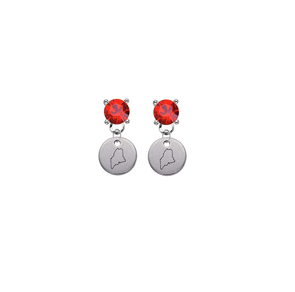 Maine State Silhouette Red Crystal Stud Post Dangle Earrings