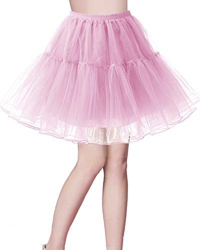 Bridesmay Women's 50s Vintage Petticoat Tutu Skirt Crinoline Underskirt Pink S ()