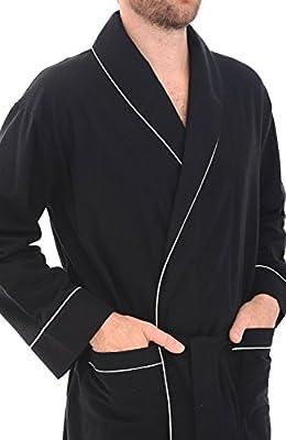 Alexander Del Rossa Mens Flannel Solid Color Robe, Soft Cotton Bathrobe