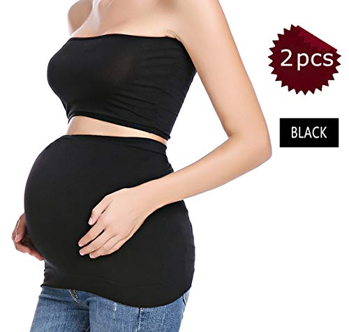 Maternity Belly Band Pregnancy Everyday Support Seamless Pants Extender Stretch Bands 2 PCS of Black(S)