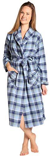 EVERDREAM Womens Flannel Robe, Shawl Collar Lightweight 100% Cotton Bathrobe, Size Large/X-Large Blue