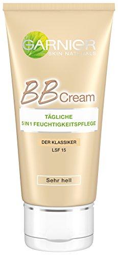 Garnier Skin Naturals BB Cream - Tägliche 5 in 1 Feuchtigkeitspflege extra hell - Skin Perfector für 24h Feuchtigkeit mit LSF 15 (dermatologisch getestet), 3 x 50 ml
