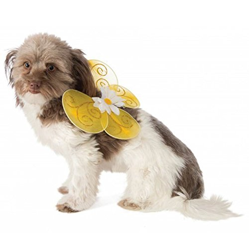 Cat Dog Pet Bumble Bee Wings - Yellow with Gold Glitter and a Daisy - Medium/Large (Pet Bumblebee Costume)