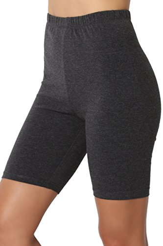 TheMogan Women's Mid Thigh Cotton High Waist Active Short Leggings Charcoal 2XL