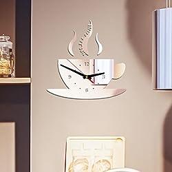 YJYdada Clock, Coffee Shape Removable Diy Acrylic 3D Mirror Wall Sticker Decorative Clock (Silver)
