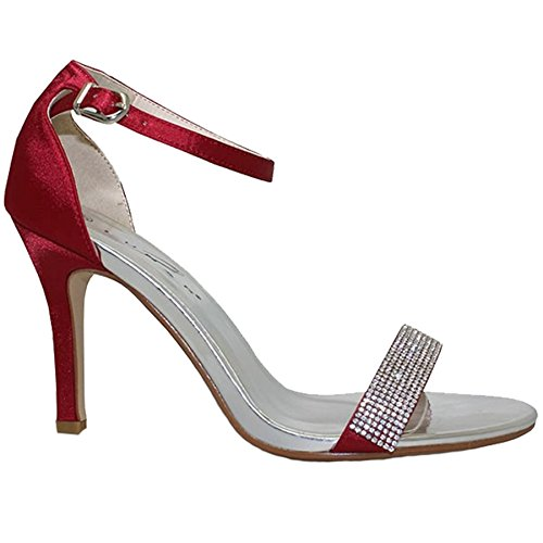 Saphir Boutique flh844 Damen Tasmin Elegant DIAMANTRIEMEN metallisch Satin Gefühl Ferse Rot