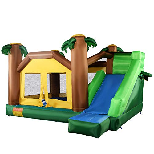 Costzon Inflatable Jungle Bounce House Jump Slide Bouncer Castle (Bouncer Without Blower)