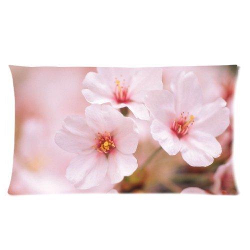 "DIY Print Creative Theme Flowers Sakura Cherry White Pink Beautiful Hotsales Cartoon Pillowcases Covers Standard Size 20""x36"" One Side-4"