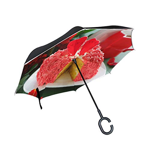 Reverse Umbrella Cake with Roses for Valentine's Day Inverted Umbrella Reversible for Golf Car Travel Rain Outdoor Black