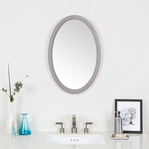 "MAYKKE Fiona 26"" H x 18"" W Oval Gray Wall Decor Bathroom Vanity Mirror, Wood Framed Mirrors for Wall in Drift Grey Finish, YSA1041801"
