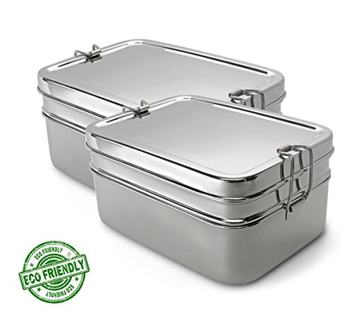 Lifestyle Block 3 Compartment Stainless Steel Eco-Friendly Lunch Box - Regular - Set of 2