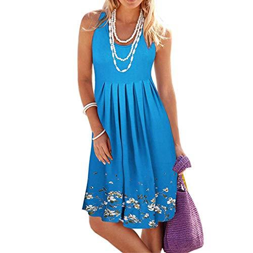 Adeliber Women's Summer Sleeveless Dress Party Cocktail Party Beach Skirt Short Dress Light Blue