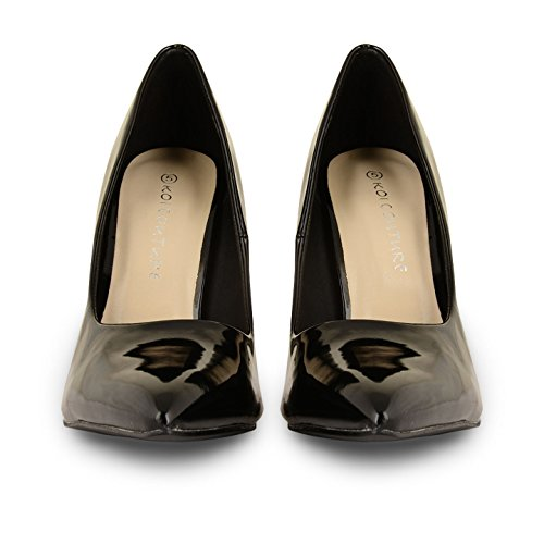 Tilly Shoes Patent punto de tacón Toe corsé stilettos Prom zapatos UK tamaños Negro - negro (black patent)