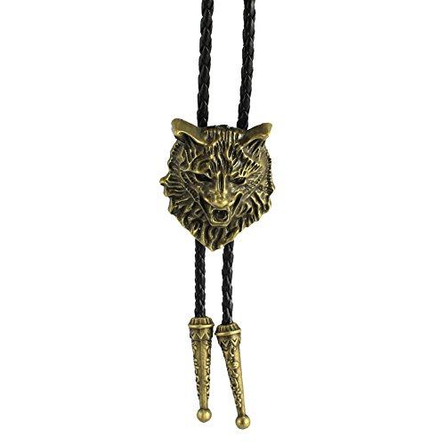 Western cowboy wolf bolo tie - Designer Gold Bolo Tie