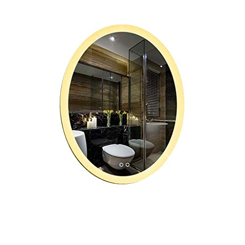 Hfyo Bathroom Mirrors Illumination Bathroom Mirror Led Oval Wall-Mounted Backlight Mirror Touch - Mirrors Point Large With Shaver Bathroom