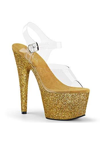 7 Inch Heel, 2 3/4 Inch Platform Ankle Strap Sandal (Clear/Gold Multi - Gold Multi Heels