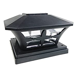 iGlow 1 Pack Black Outdoor Garden 6 x 6 Solar SMD LED Post Deck Cap Square Fence Light Landscape Lamp PVC Vinyl Wood