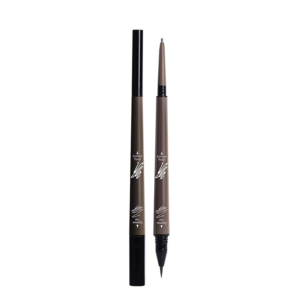 2 in 1 Eyebrow Pencil Tint 1.5mm Super Fine Microblading Pen Waterproof 24h Long-lasting (2# Brown)