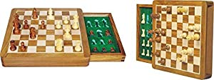 Zap Impex ® wood magnetic travel chess game, box and tray 7 inches