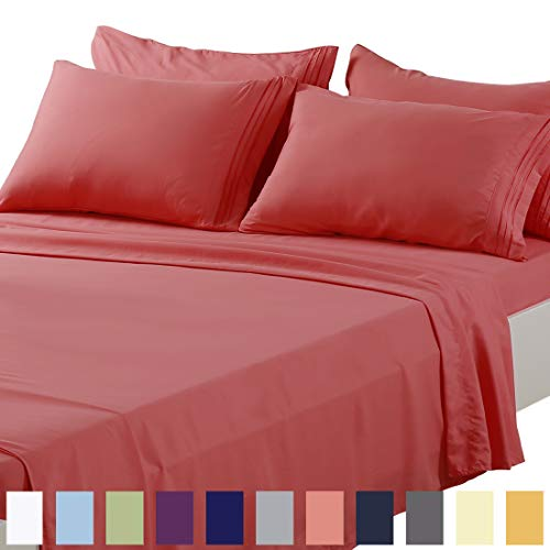 TEKAMON Full Bed 6 Piece Sheet Set Cooling 100% Microfiber Polyester Extra Deep Pocket Fitted Sheet Luxury Soft,Breathable,Wrinkle and Fade Resistant Flat Sheet Coral (Bed Sheets Coral Full)