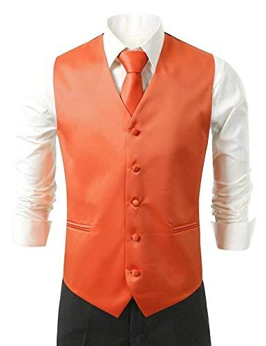 Fashion Ajustado En Chaleco Para con color 5 Saoye Cuello Corbata Sg Hombres Tie Smoking Hanky Y Naranja Size Elegante Esmoquin De Traje V Ropa Anteojos daR5q