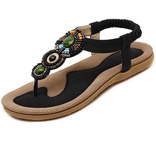GetMine Womens Rhinestone Sandals T-Strap Buckle Bohemian Pearl Crystal Flat Sandals,Flip Flop 5 M Black 02 02 Women Flat Sandals