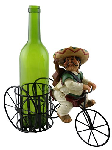 (Wine Bodies Decorative Kitchen Cinco de Mayo Mexican Polyresin Figure With Sombrero, Sarape Guitar, And Guaraches On Tricycle Metal Wine Bottle Holder)