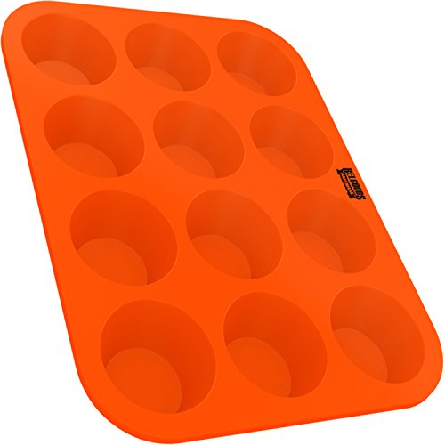 Silicone Muffin Cupcake Baking Pan Tray - Standard Size - 12 Cups - 100% Pure Food Grade Non-Stick Silicone - Orange - Bake Like a - Pan Muffin Professional Cup 12