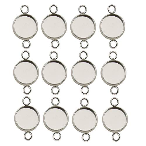 50pcs 12mm Stainless Steel Round Blank Bezel Pendant Connector Trays Base Cabochon Settings Trays Pendant Blanks Links for Jewelry Making DIY Findings (9844)