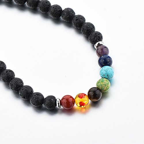 Mystiqs Deluxe Handmade Lava Rock Beaded Stone Necklace Essential Oil Diffuser for Men Aromatherapy Ideal for Anti-Stress or Anti-Anxiety (Beaded Handmade Necklace)