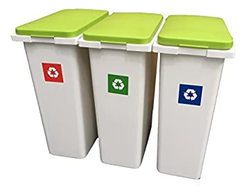 3 X 30 Litre Interlocking Waste / Recycle / Laundry Sorting Plastic Bins  Recycling Boxes With