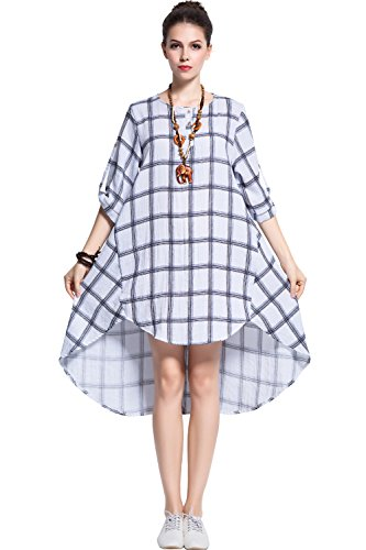 Plaid Spring Dress - Anysize Plaids Spring Summer Soft Linen&Cotton Dress Plus Size Clothing Y113