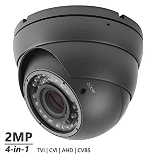 Analog CCTV Camera HD 1080P 4-in-1 (TVI/AHD/CVI/CVBS) Security Dome Camera, 2.8mm-12mm Manual Focus/Zoom Varifocal Lens, Weatherproof Metal Housing 36 IR-LEDs Day & Night Monitoring (Black)