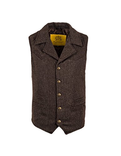 Accent Wool Blend - STS Ranchwear Men's Wool Blend Cowboy Cut Vest Brown XXX-Large
