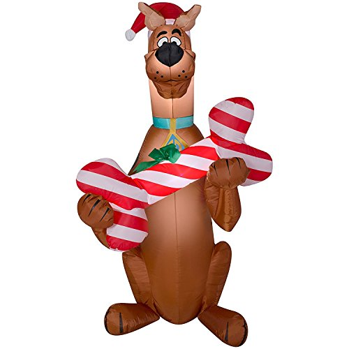 Christmas Inflatable 5' Scooby Doo in Santa Hat Holding Candy Cane Bone Airblown By Gemmy (3) (Doo Christmas Scooby Inflatable)