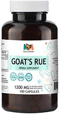 Goat s Rue Capsules, 1200 MG per Serving, Organic Goat s Rue Herb Galega officinalis 100 Capsules