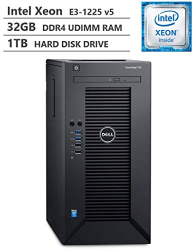 2019 Newest Dell PowerEdge T30 Premium Business Tower Server Desktop, Intel Xeon E3-1225 v5 up to 3.70GHz, 32GB DDR4 ECC UDIMM Memory, 1TB 7200RPM HDD, HDMI, DisplayPort, DVD-RW, No Operating System (Best Small Business Servers 2019)