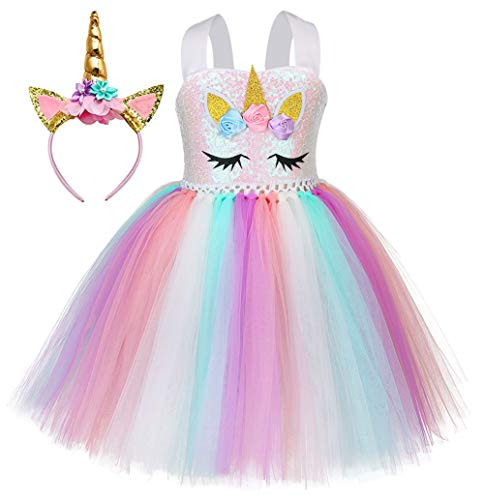 Little Girls Unicorn Princess Sequin Dress Fluffy Birthday Rainbow Tutu Dress Unicorn Headband (Purple, Large)]()