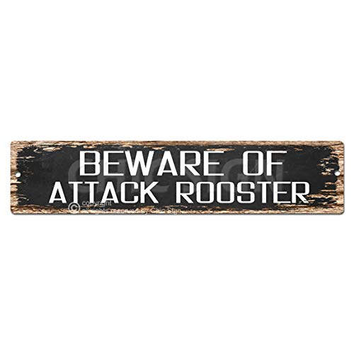 BEWARE OF ATTACK ROOSTER Plate Sign Vintage Rustic Street Sign Beach Bar Pub Cafe Restaurant shop Home Room Wall Door Decor ()