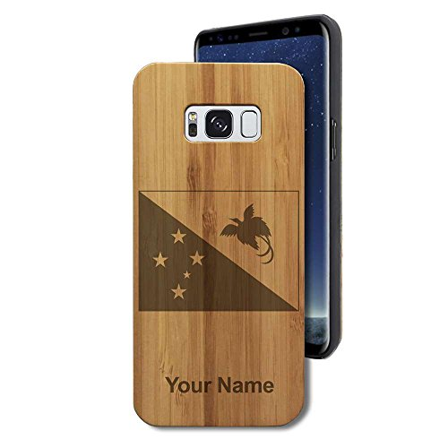 Bamboo Case for Galaxy S8 - Flag of Papua New Guinea - Personalized Engraving Included