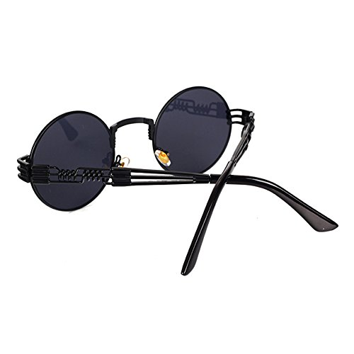 UV400 Retro Metal Ronda Gafas Juleya Gris Steampunk oscuro pPw7XR1x