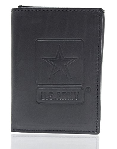 US Armed Forces Collection Mens Genuine Leather Wallets - Gift Boxed Bi-Fold and Tri-Fold Leather Wallets (US Army Tri-Fold, ()